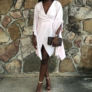 Blush pink cape dress